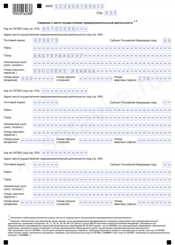 Образец заполнения заявления на патент для ИП - страница 3