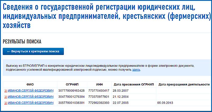 Проверка сведений о ИП на сайте ФНС - результаты поиска