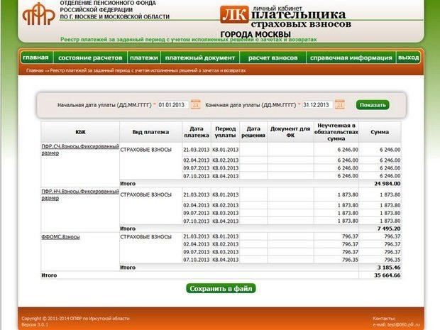 Проверка задолженности ИП в ПФР через интернет на сайте